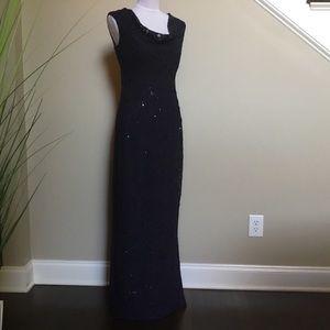 RALPH LAUREN EVENING navy lace sequin dress gown 6